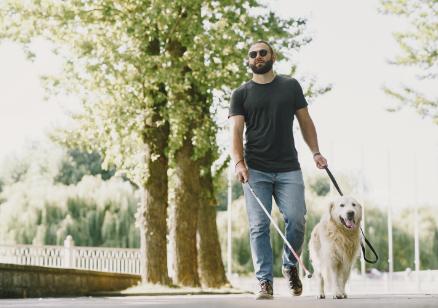 Niewidomy mężczyzna z białą laską i psem przewodnikiem